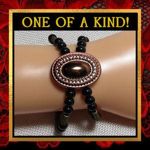 Black Agate Gemstone Bracelet #573